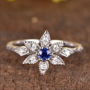 Jewelry - Diamond and Sapphire Flower Ring 14k White Gold